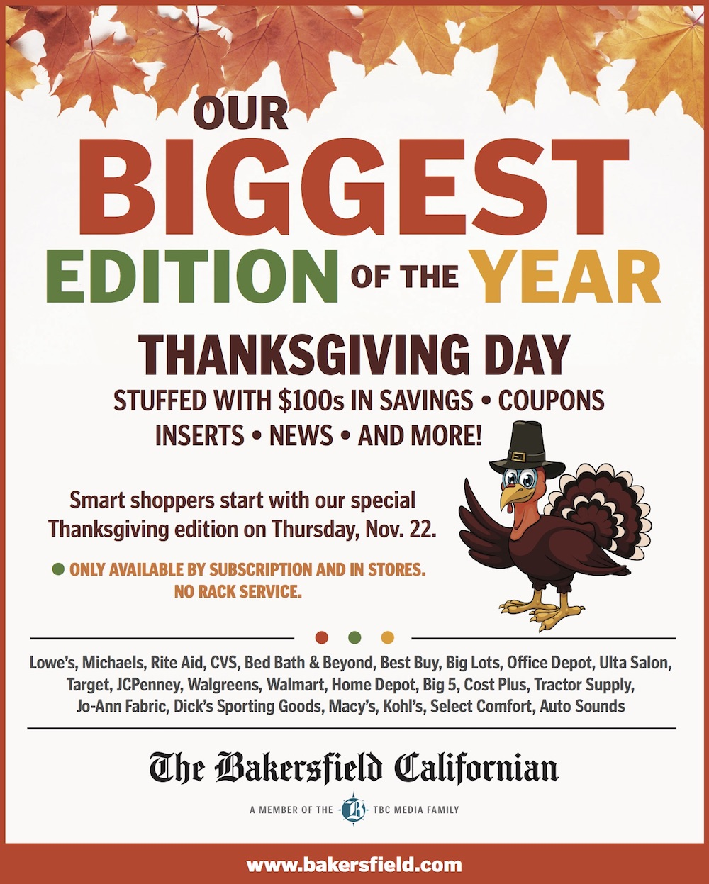 Our biggest editon of the year for Thanksgiving day!